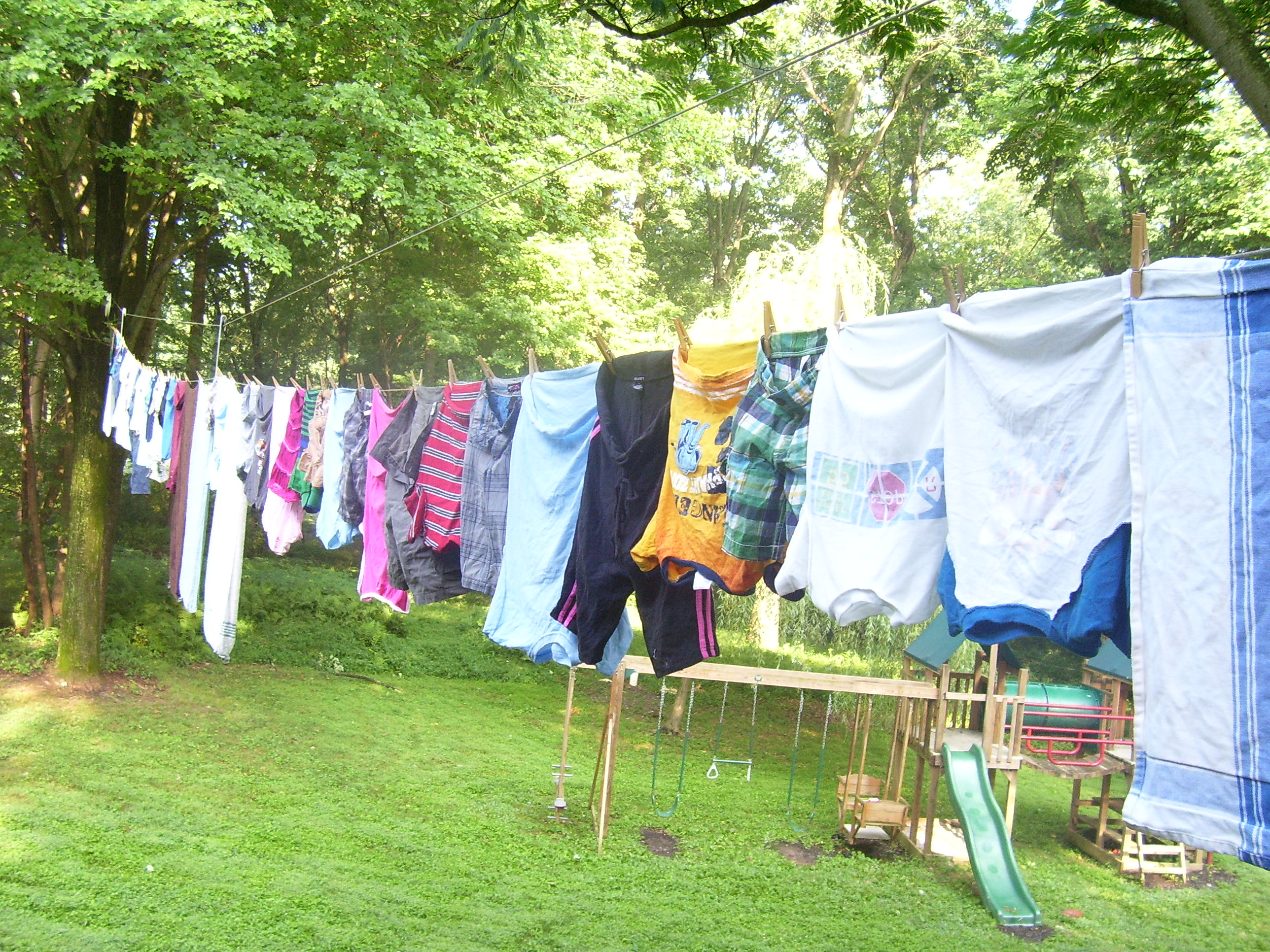 Hand your clothes instead of drying them up in your dryer. It prolongs the life of your clothes.