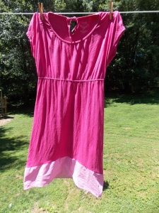 My newly updated pink dress, blowing in the breeze.