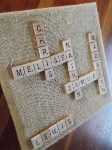 scrabble board, music ornament 001
